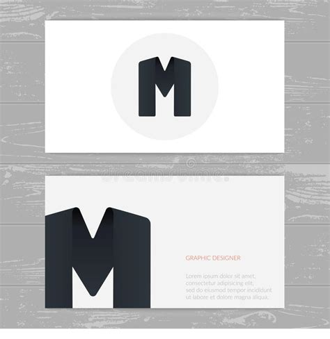 business card template us letter svg business card template with logo alphabet letter m stock