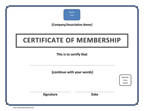 certificate of membership template free microsoft word