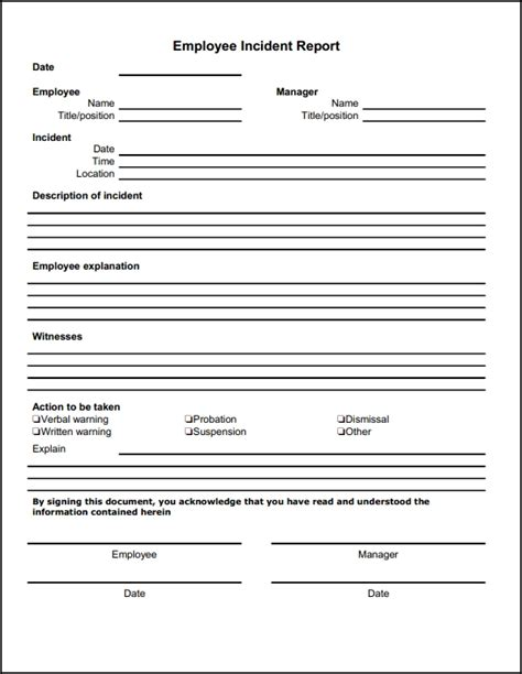 Incident Report Warning Letter Blank Employee Incident Report Form Template Sle Helloalive