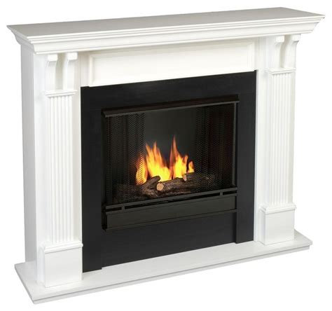 ashley indoor ventless gel fireplace in white