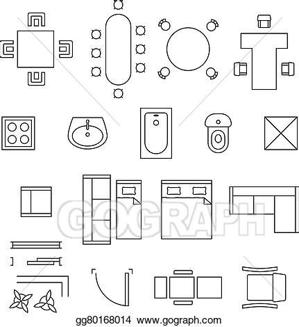 furniture symbols for floor plans bunk bed plans twin over eps vector furniture linear vector symbols floor plan