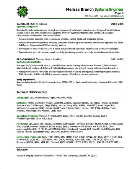 resume format for system engineer systems engineer free resume sles blue sky resumes