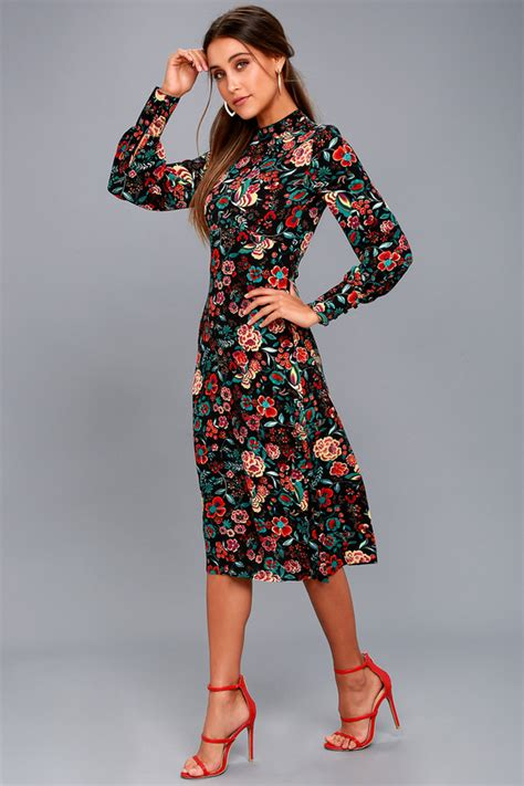Sleeve Print Midi Dress black floral print dress black dress midi dress