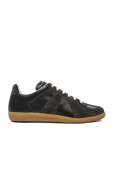 sneaker replica maison margiela calfskin suede replica sneakers in black
