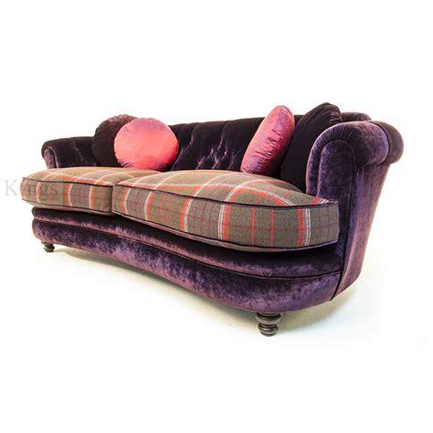 Purple Tartan Chair Sankey Tolkien Sofa In Purple Velvet And Plaid Wool