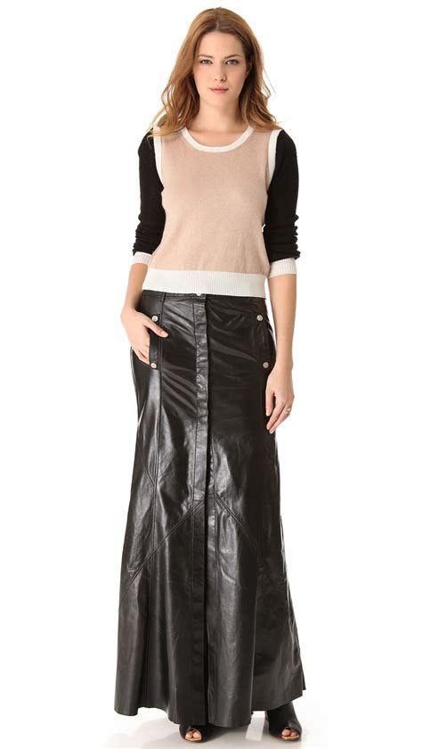 maxi leather skirt dress ala