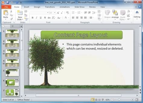 animated tree with roots powerpoint template