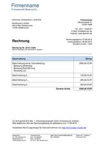 Musterrechnung Für Kleingewerbe Ohne Umsatzsteuer Kleinunternehmer Rechnung Rechnungsvorlagen F 252 R Kleinunternehmer