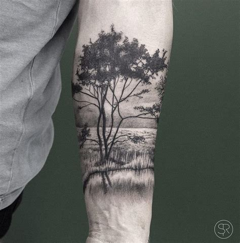 trees amp water park nature scene on guys forearm best