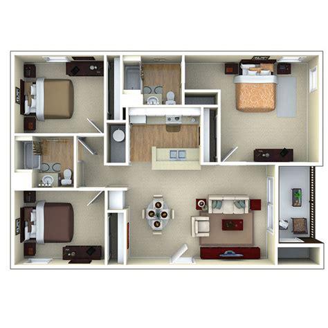 Apartments With 3 Bedrooms 3 Bedroom Apartment Floor Plans 3d Floor Plans In 3d