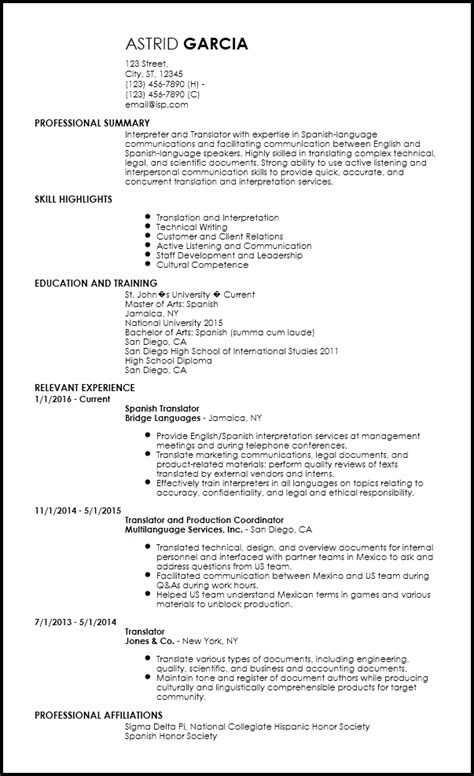 Translator Resume Template by Translate Resume To Free Entry Level Translator