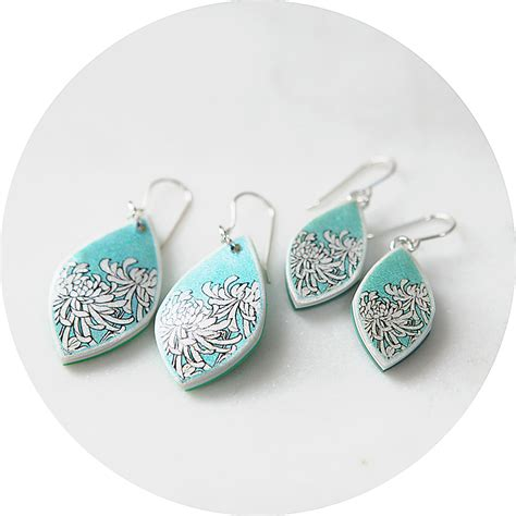 Melbourne Handmade Jewellery - chrysanthemum illustrated japanese style earrings
