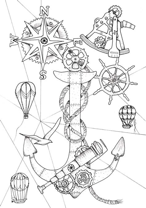steunk ocean a nautical adult coloring book device