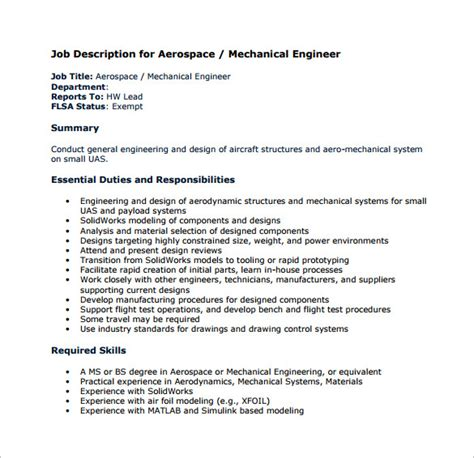 mechanical engineering job description template   wordpdf format