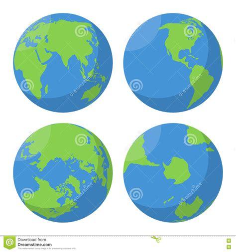 flat earth globe vector icons set stock illustration