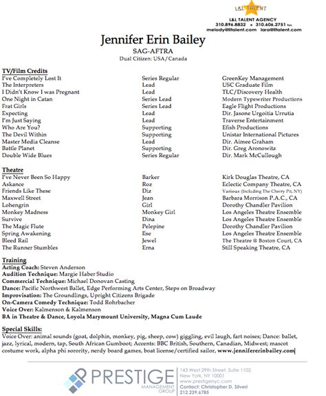 actors resume exle acting resume bailey 28 images actors resume exle 85