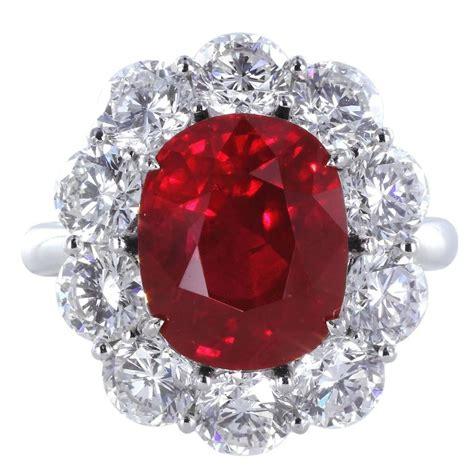 5 04 carat cert burma ruby platinum cluster
