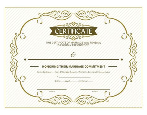 free printable gold ornate certificate of vow renewal i