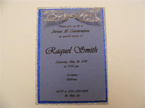 Handmade Sweet 16 Invitations - handmade sweet sixteen invitation silver blue glitter