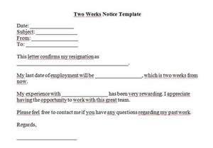 2 weeks notice template 40 two weeks notice letters resignation letter templates