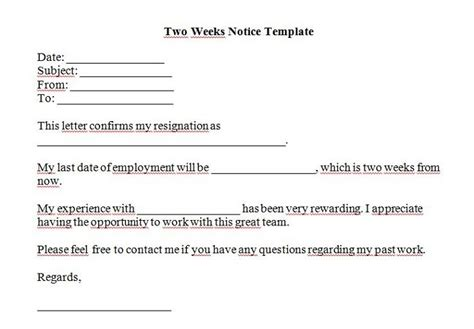two week notice template 40 two weeks notice letters resignation letter templates