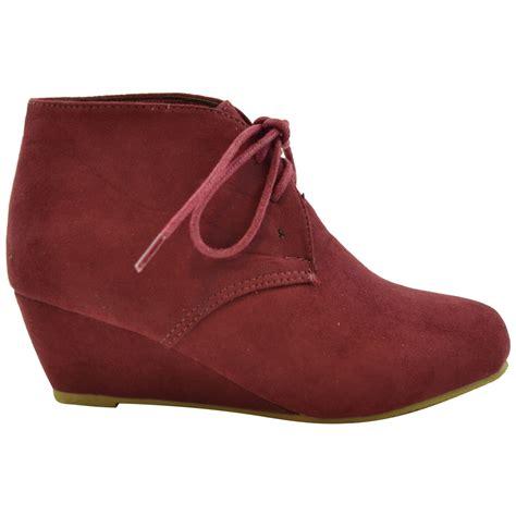 faux suede low heel wedge lace up ankle boots burgundy