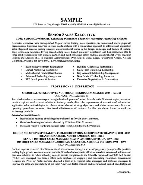 senior sales executive resume free sles exles