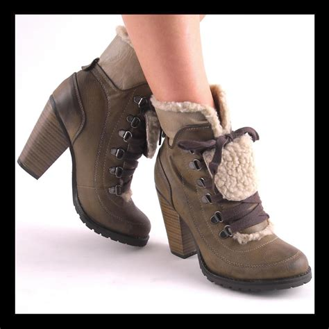 new taupe laceup high heel hiking boots size 7 ebay