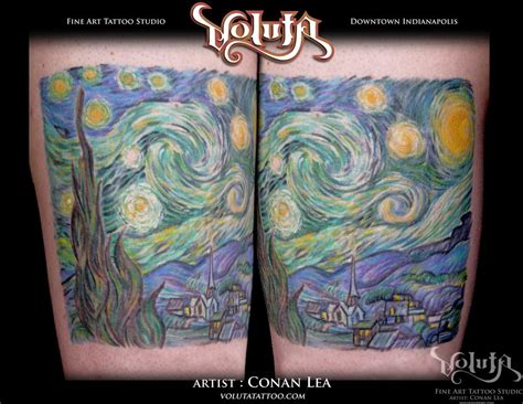 night tattoos gogh starry reproduction by conan lea
