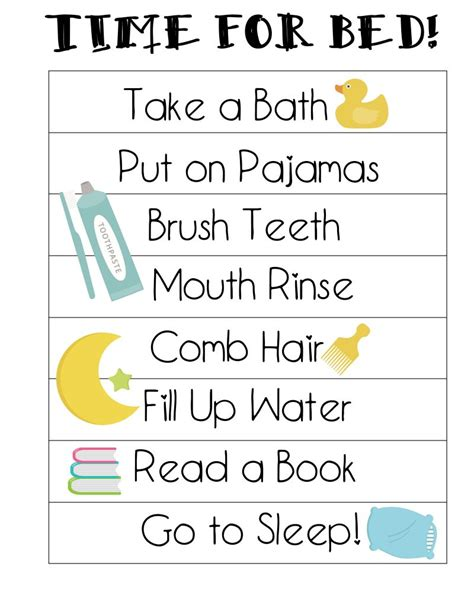 printable toddler routine free printable bedtime routines chart preschool age