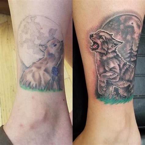 altered images tattoo howling at the moon by allen tattoos