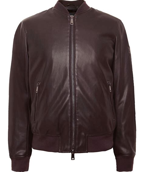 faux leather bomber armani brown faux leather bomber jacket jules b