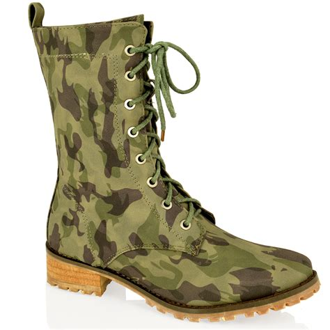 womens army biker combat lace up