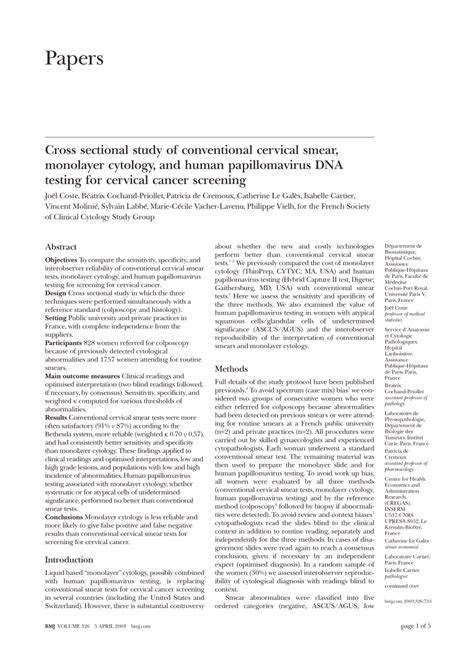 cross sectional study pdf cross sectional study of conventional cervical smear