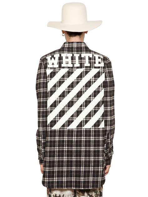 Flanel Black Big White white c o virgil abloh plaid cotton flannel shirt in black for lyst