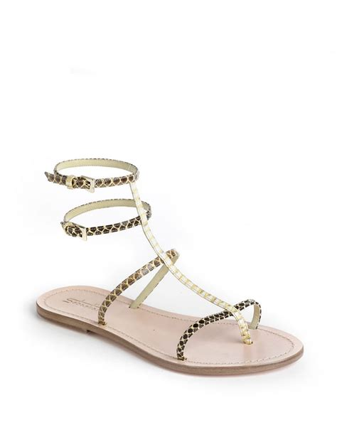 yellow strappy sandals lyst sebastian strappy snakeskin leather sandals in yellow