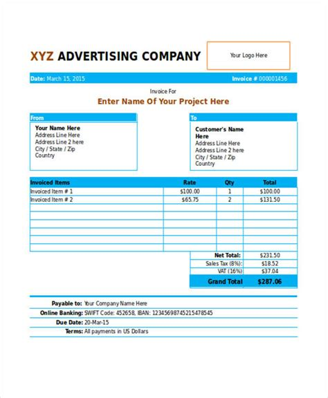 marketing invoice template marketing invoice template 28 images retaining a