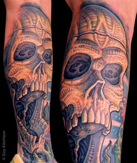 biomechanical tattoo guy aitchison guy aitchison tattoos guy aitchison randy bio skull