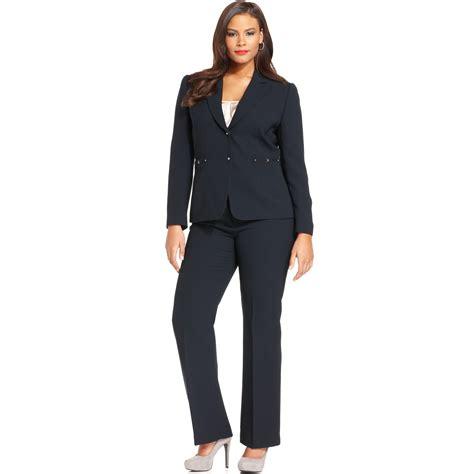 Two Botton Big Size Plus Size tahari plus size two button pinstripe pant suit in blue lyst