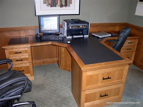 Custom Cherry Partner Desk Two Person Custom Made T Two Person Home Office Desk