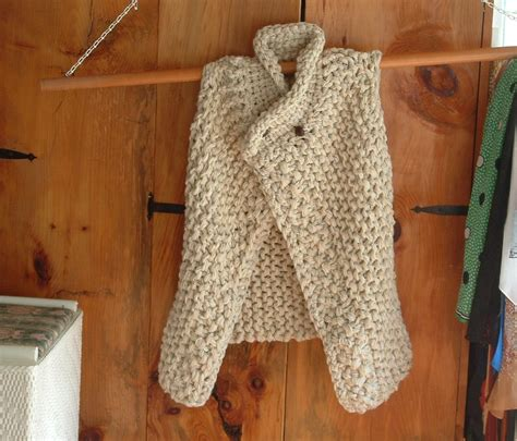 knitting pattern womens vest long asymmetric vest sweater cardigan super chunky knit unisex