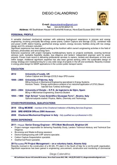 Resume Sample Mechanical Engineer by Cv Of Diego Calandrino Renewable Energy Consultant