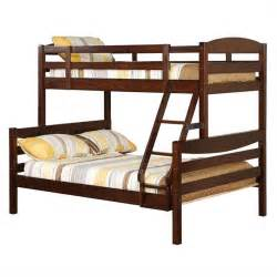 Wood Bunk Beds Walker Edison Twin Over Double Solid Wood Bunk Bed Brown