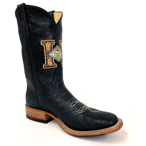 Handmade Ostrich Boots - black smooth ostrich boots harris leather silverworks