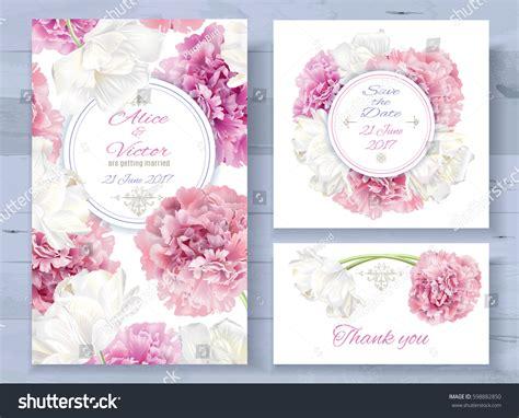 Wedding Background Set by Vector Wedding Invitations Set Pink Peony Stock Vector