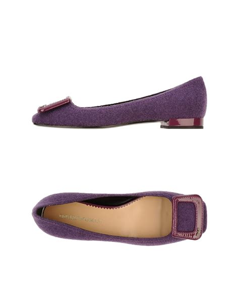armani flat shoes emporio armani ballet flats in purple lyst
