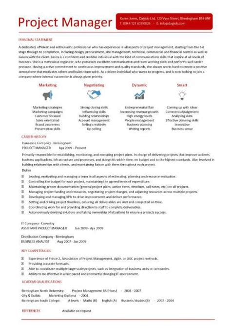 Project Management Resume Templates by It Project Manager Cv Template Project Management
