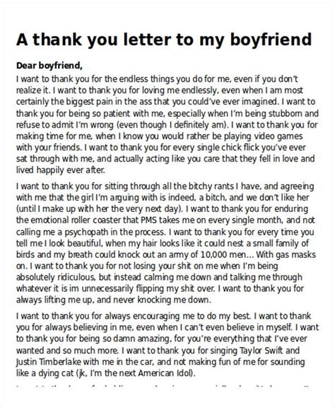 thank you letter to boyfriend sle thank you letter to your in 28 images 6 letter of