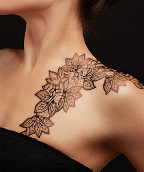 Tattoo On Inner Shoulder | flower lace shoulder tattoo designs for women jpg 500 215 599