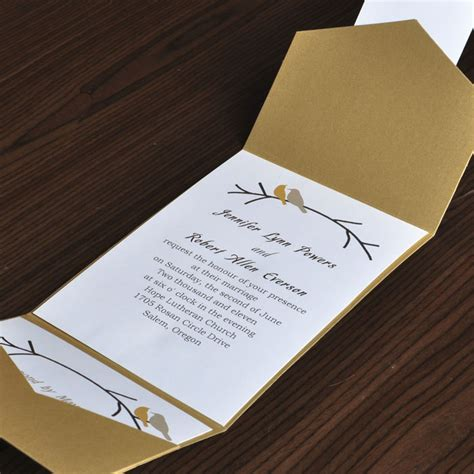 card for wedding invites birds card and gold pocket wedding invites with response card ewpi016 as low as 1 69